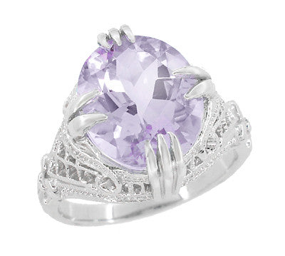 Art Deco Oval Filigree Rose de France Statement Ring in Sterling Silver | 4.5 Carats - Item: SSR157RF - Image: 1