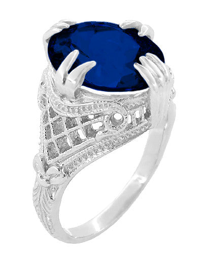 Art Deco Engraved Filigree 5.75 Carat Oval Lab Created Blue Sapphire Statement Ring in Sterling Silver - Item: SSR157S - Image: 2