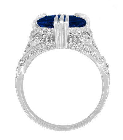 Art Deco Engraved Filigree 5.75 Carat Oval Lab Created Blue Sapphire Statement Ring in Sterling Silver - Item: SSR157S - Image: 3