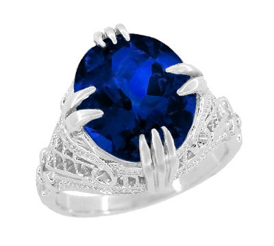 Art Deco Engraved Filigree 5.75 Carat Oval Lab Created Blue Sapphire Statement Ring in Sterling Silver - Item: SSR157S - Image: 1