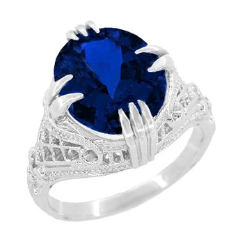 Oval Lab Created Blue Sapphire Statement Ring in Sterling Silver - Art Deco Filigree Engraved - 5.75 Carats