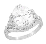 Art Deco Filigree Engraved 5 Carat Oval White Topaz Ring in Sterling Silver