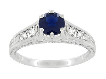 Art Deco Blue Sapphire Filigree Promise Ring in Sterling Silver with White Sapphire Side Stones - Item: SSR158 - Image: 3
