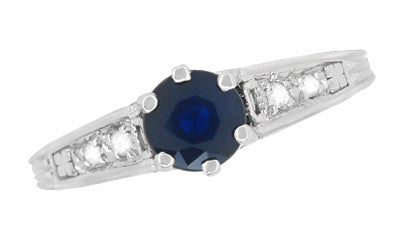 Art Deco Blue Sapphire Filigree Promise Ring in Sterling Silver with White Sapphire Side Stones - Item: SSR158 - Image: 4