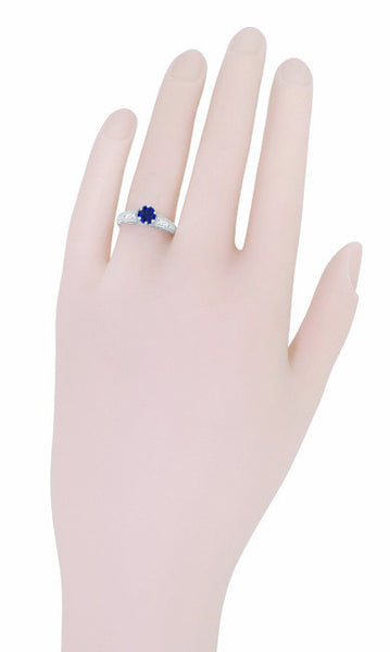Art Deco Blue Sapphire Filigree Promise Ring in Sterling Silver with White Sapphire Side Stones - Item: SSR158 - Image: 5