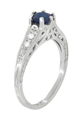 Art Deco Blue Sapphire Filigree Promise Ring in Sterling Silver with White Sapphire Side Stones - Item: SSR158 - Image: 1