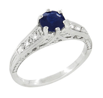 Art Deco Blue Sapphire Filigree Promise Ring in Sterling Silver with White Sapphire Side Stones