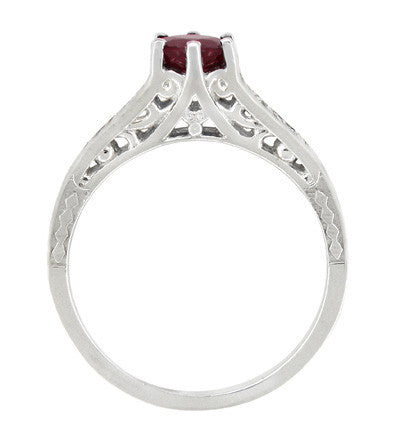 Art Deco Filigree Ruby Promise Ring in Sterling Silver with Side White Sapphires - Item: SSR158R - Image: 2