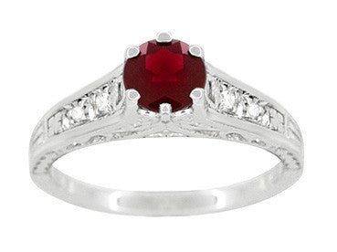 Art Deco Filigree Ruby Promise Ring in Sterling Silver with Side White Sapphires - Item: SSR158R - Image: 3