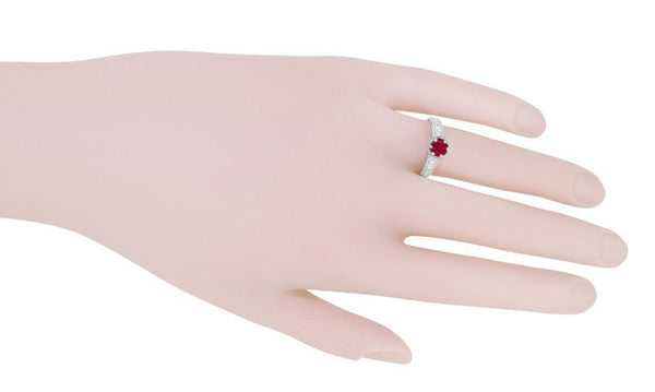 Art Deco Filigree Ruby Promise Ring in Sterling Silver with Side White Sapphires - Item: SSR158R - Image: 5