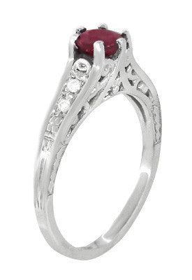 Art Deco Filigree Ruby Promise Ring in Sterling Silver with Side White Sapphires - Item: SSR158R - Image: 1