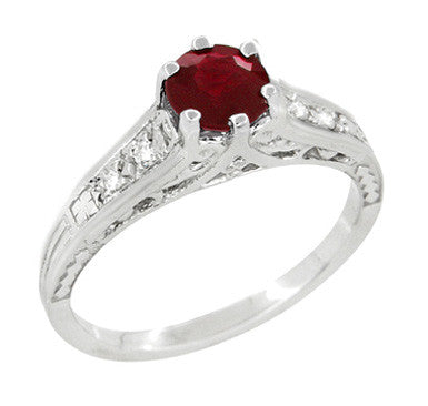 Art Deco Filigree Ruby Promise Ring in Sterling Silver with Side White Sapphires