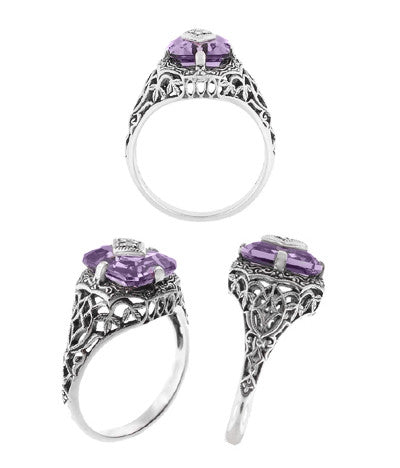 Art Deco Flowers and Leaves Amethyst and Diamond Filigree Ring  in Sterling Silver - Item: SSR15A - Image: 2