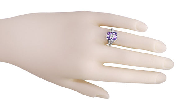 Art Deco Flowers and Leaves Amethyst and Diamond Filigree Ring  in Sterling Silver - Item: SSR15A - Image: 3
