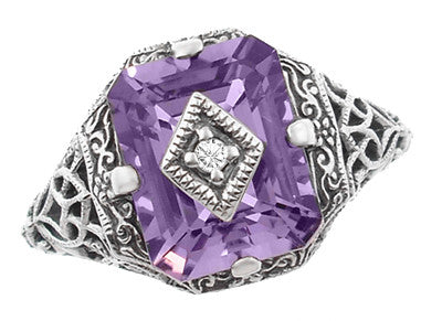 Art Deco Flowers and Leaves Amethyst and Diamond Filigree Ring  in Sterling Silver - Item: SSR15A - Image: 1