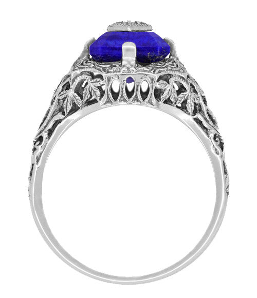 Art Deco Filigree Diamond and Lapis Lazuli Ring in Sterling Silver - Caroline's Daylight Ring - Item: SSR15LA - Image: 3