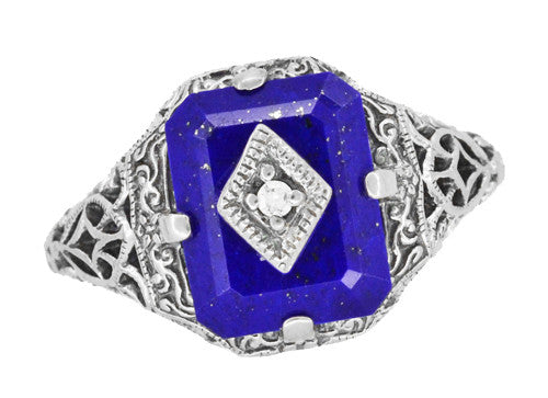 Art Deco Filigree Diamond and Lapis Lazuli Ring in Sterling Silver - Caroline's Daylight Ring - Item: SSR15LA - Image: 4