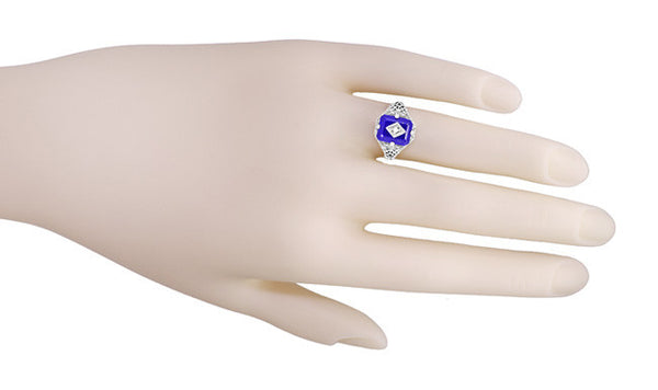 Art Deco Filigree Diamond and Lapis Lazuli Ring in Sterling Silver - Caroline's Daylight Ring - Item: SSR15LA - Image: 5