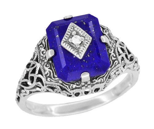 Art Deco Filigree Diamond and Lapis Lazuli Ring in Sterling Silver - Caroline's Daylight Ring - Item: SSR15LA - Image: 1