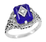 Art Deco Filigree Diamond and Lapis Lazuli Ring in Sterling Silver - Caroline's Daylight Ring