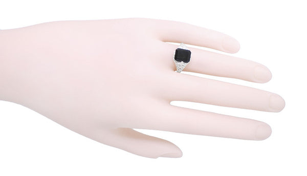 Art Deco Flowers and Leaves Black Onyx Filigree Ring in Sterling Silver - Item: SSR15o - Image: 2