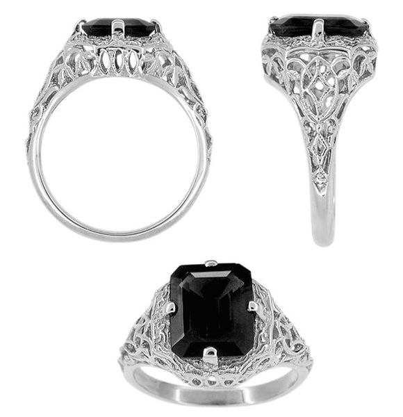 Art Deco Flowers and Leaves Black Onyx Filigree Ring in Sterling Silver - Item: SSR15o - Image: 1