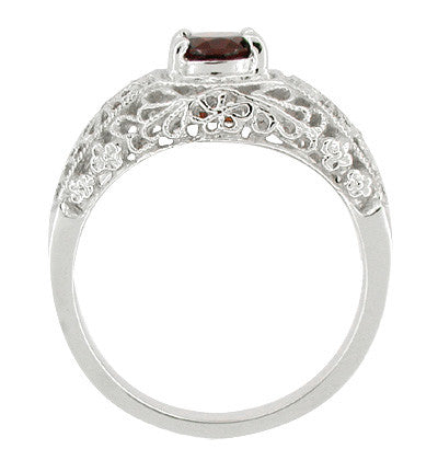 Filigree Flowers Edwardian Dome Almandite Garnet Promise Ring in Sterling Silver - Item: SSR16 - Image: 1