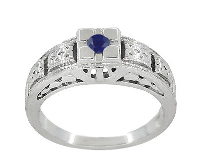 Engraved Art Deco Blue Sapphire Band Ring in Sterling Silver