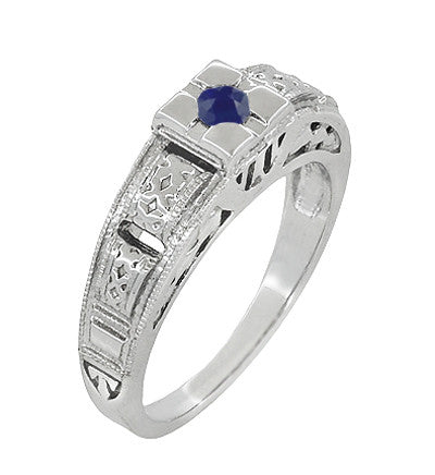 Engraved Art Deco Blue Sapphire Band Ring in Sterling Silver - Item: SSR160S - Image: 2