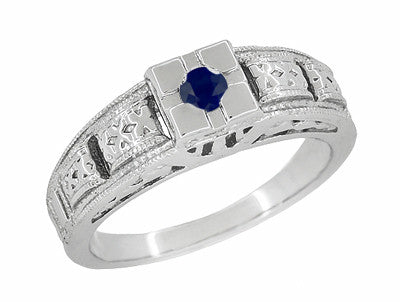 Art Deco Engraved Blue Sapphire Band Ring in Sterling Silver