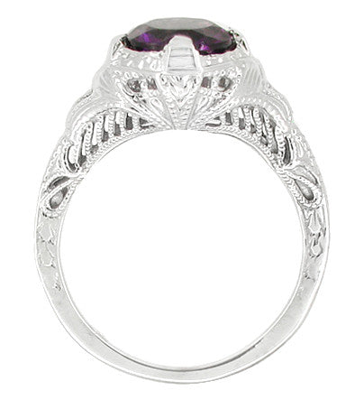 Art Deco Amethyst Promise Ring in Sterling Silver with Engraved Filigree - Item: SSR161AM - Image: 1