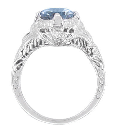 Art Deco Engraved Filigree Sky Blue Topaz Promise Ring in Sterling Silver - Item: SSR161BT - Image: 1