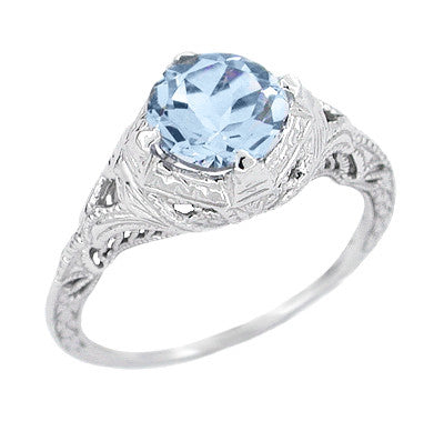 Art Deco Engraved Filigree Sky Blue Topaz Promise Ring in Sterling Silver