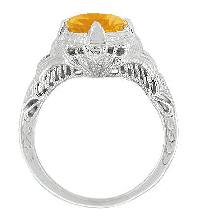 Art Deco Engraved Filigree 1.20 Carat Citrine Engagement Ring in 14 Karat White Gold - Item: SSR161C - Image: 1