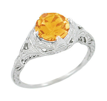 Art Deco Engraved Filigree Citrine Engagement Ring in 14 Karat White Gold