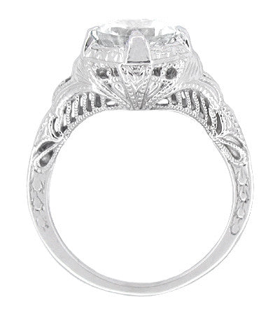 Art Deco Cubic Zirconia ( CZ ) Engraved Filigree Promise Ring in Sterling Silver - Item: SSR161CZ - Image: 1