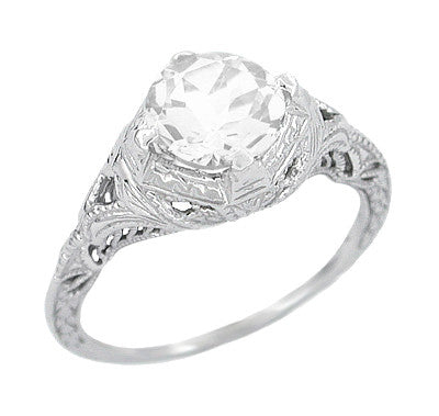 Art Deco Cubic Zirconia ( CZ ) Engraved Filigree Promise Ring in Sterling Silver