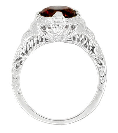 Art Deco Filigree Almandite Garnet Promise Ring in Sterling Silver with Heirloom Engraving - Item: SSR161G - Image: 1