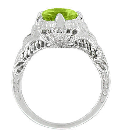 Art Deco Vintage Engraved Filigree Peridot Ring in Sterling Silver - Item: SSR161PER - Image: 1