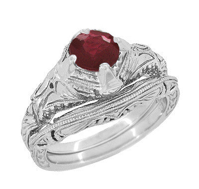 Art Deco Engraved Filigree 1.20 Carat Ruby Promise Ring in Sterling Silver - Item: SSR161R - Image: 2