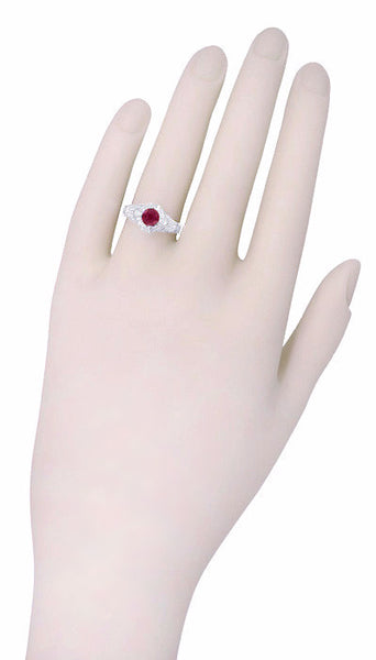 Art Deco Engraved Filigree 1.20 Carat Ruby Promise Ring in Sterling Silver - Item: SSR161R - Image: 3