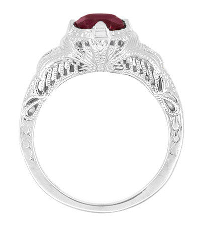 Art Deco Engraved Filigree 1.20 Carat Ruby Promise Ring in Sterling Silver - Item: SSR161R - Image: 1