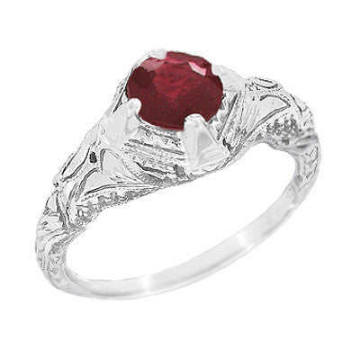 Art Deco Engraved Filigree 1.20 Carat Ruby Promise Ring in Sterling Silver