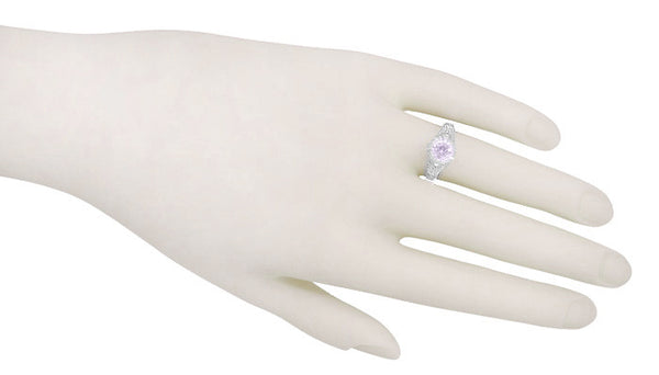 Art Deco Engraved Filigree Rose de France Amethyst Promise Ring in Sterling Silver | Antique Inspired - Item: SSR161RF - Image: 2