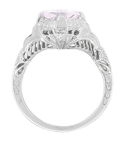 Art Deco Engraved Filigree Rose de France Amethyst Promise Ring in Sterling Silver | Antique Inspired - Item: SSR161RF - Image: 1