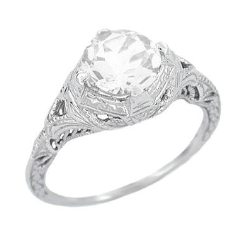 Art Deco Engraved Filigree White Topaz Promise Ring in Sterling Silver