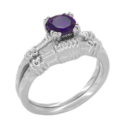 Art Deco Hearts and Clovers Amethyst Solitaire Promise Ring in Sterling Silver - Item: SSR163AM - Image: 2