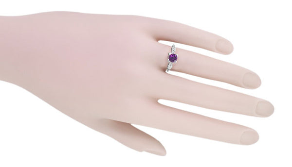 Art Deco Hearts and Clovers Amethyst Solitaire Promise Ring in Sterling Silver - Item: SSR163AM - Image: 3