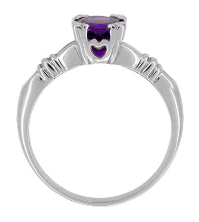 Art Deco Hearts and Clovers Amethyst Solitaire Promise Ring in Sterling Silver - Item: SSR163AM - Image: 1