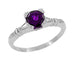 Art Deco Hearts and Clovers Amethyst Solitaire Promise Ring in Sterling Silver